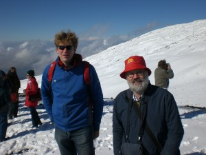 Two of the authors - Lennart and Mark on the top of Mt Etna in 2008.