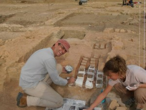 Philippe and Valerie taking samples from an archaeolgoical site in France